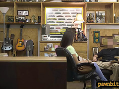 Brunette Hair woman sucks off and slammed at the pawnshop