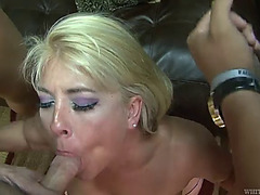 Aged blond weathers a thorough fucking by numerous fucking cocks