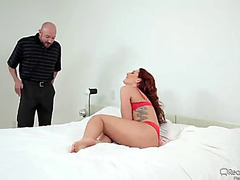 Hawt redhead wife receives double permeated during a three-some