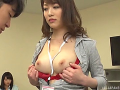Wicked oriental teacher grabs her student's ramrod and gives it a superb tugjob