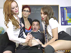Magnificent schoolgirls going insane over their classmate's dick