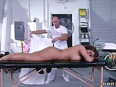 Eva notty's large bumpers overspread in oil during a hawt shagging experience