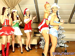 Cfnm christmas teenies cocksucking in groupsex