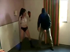 Gaelle babe beating thief in the hotel