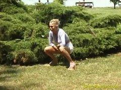 Piss Crazy pee girl on the beach