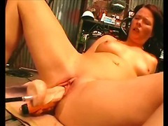 German Sofia gets fucked hard by a machine!
