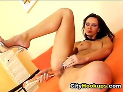 Sexy Hot Girl With Pierced Clits Masturbates With Her Toys
