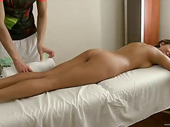 Glamorous blond is drilled after a relaxing massage