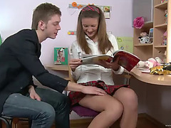 Anal drilling for a excited golden-haired legal age teenager