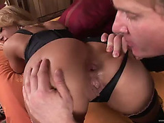 Coarse anal for a sexy golden-haired in underware