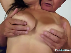 Breasty bitch receives screwed by a older man