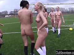 Lesbo soccer nubiles have pleasure in the shower