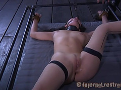 Oriental couch fastened gagged and penetration two