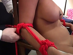 Oriental sweetheart tied chloro and screwed by a sextoy