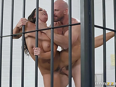 Large titted abigail mac receives snatch pounded standing