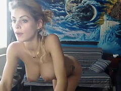 Breasty hottie teases and masturbates on livecam