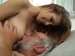 Youthful angel wakes up her old stud to have sex