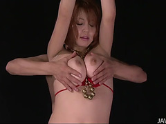 Breasty honey in red bikini stripping off and toyed