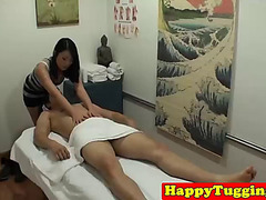Smalltits oriental pussyfucked on massage table