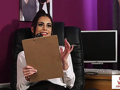 British cfnm office playgirl instructs jerkoff