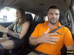 Tattooed ava austen pounded by her driving instructor