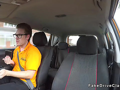 Instructors bff bangs large boobs blond in car
