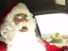 Dark santa gives brunette hair maya luana a large pecker as christmas present