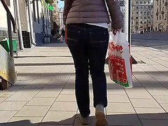 Fast moving a-hole in jeans