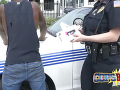 Chesty harlots in cop uniforms are getting boned by endowed dark stud