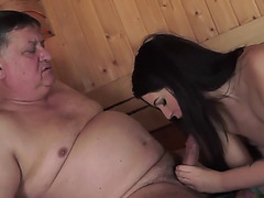 Old dude copulates a juvenile lady