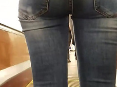 Worthy butt in constricted jeans