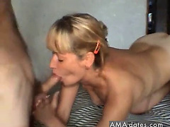 Blonde mother i'd like to fuck jerked off in her face and eating cum
