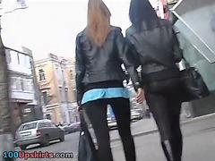 2girl walk outdoor street