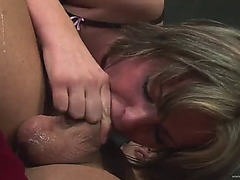 Coarse deepthroat face fucking for quite a lewd wench