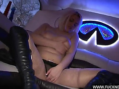 Perverted blond masturbates with 2 dildos