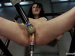 Hawt playgirl aiden ashley receives a soaked cunt from a machine banging