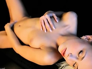 Porn Tube of Blonde Angel Babe On The Leather Couch