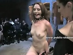 Slut at barber shop undresses and pleases customers in public group sex and cock sucking video