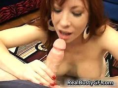 Fiery redhead mom with bigboobs sucking