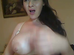 Hawt non-professional show off large whoppers with milky