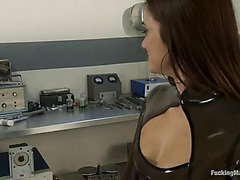 Machine with sex-toy and dildo stimulating cece stone's snatch and love button