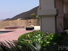 Sunbathing blond hottie receives attention from fuckboy