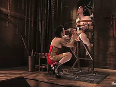 Master vixen riding pecker after torturing and thrashing a bounded boy