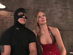 Hawt servitude with a hot blond wearing a large ding-dong