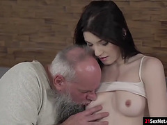 Brunette Hair mia evans gives head and receives drilled by a grandad