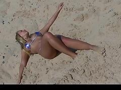 Beach cutie posing in petite bikini part 1