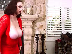 Big Beautiful Woman dominant-bitch receives cum on her luscious scones