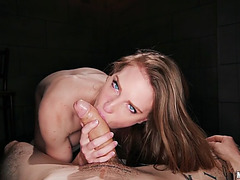 Ashley lane gives precious blow job in pov