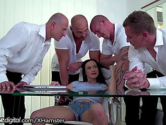 Bratty daughter double penetration team-fucked by daddy and all his allies!