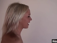 Blond honey likes to receive rammed